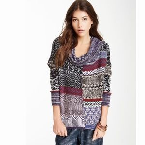 Free People cowl neck loose patchwork sweater